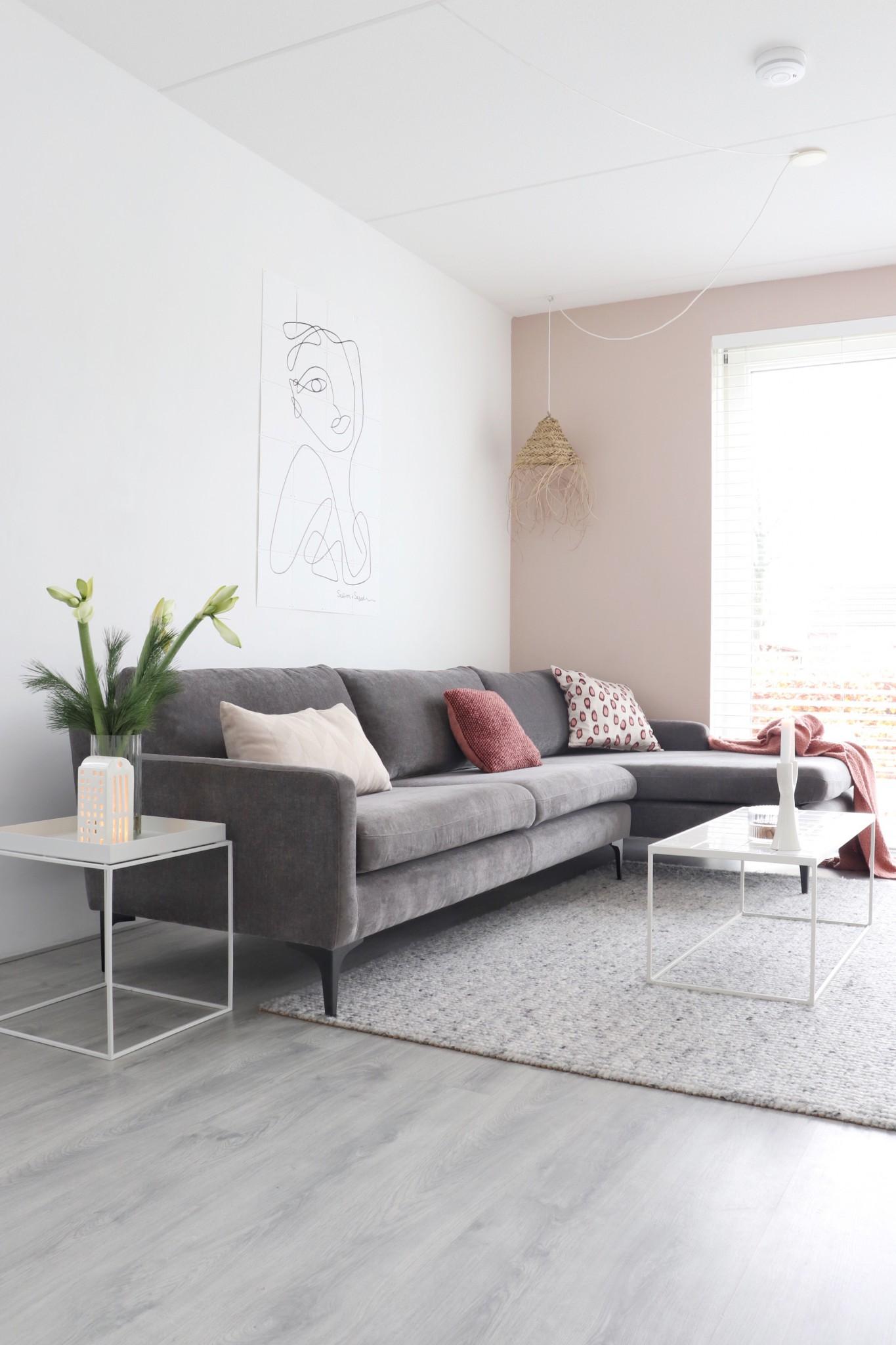 Sofacompany bank Ashta in Danny Steel Grey inn een Scandinavische woonkamer